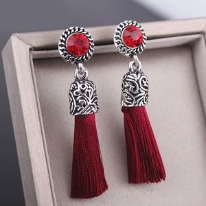 NEW Antique Silver Red Tassel Boho Chic Earrings